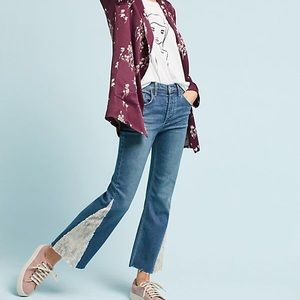 NWT Anthro Pilcro High Rise Sequin Flare Jeans